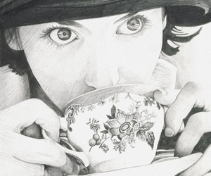 draw, girl, and tea image