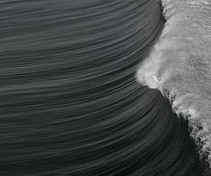 waves, ocean, and black and white image