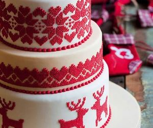 cake, christmas, and red image