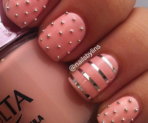 nails, stripes, and pink image