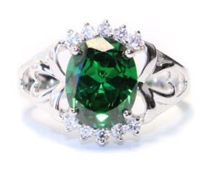 emerald, classic promise ring, and silver ring image