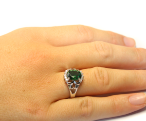 emerald, silver ring, and promise ring image