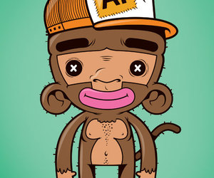 illustration, vector, and monkey image