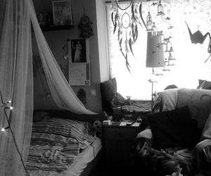 bedroom, black and white, and bohemian image