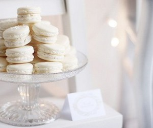 food, white, and macaroons image