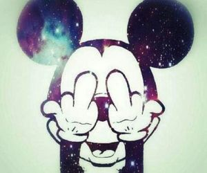 galaxy, mickey mouse, and middle finger image