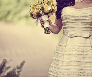 flowers, vintage dress, and wedding image