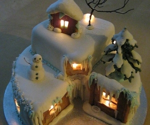 cake, christmas, and snow image