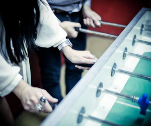 chill, couple, and foosball image