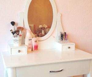 desk, vanity, and ikea image