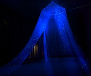 bed, blue, and canopy image