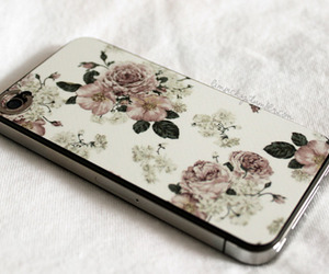 iphone, flowers, and vintage image