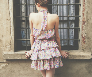 girl, dress, and floral image