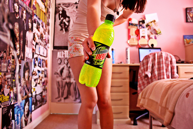 drink, girl, and mountain dew image
