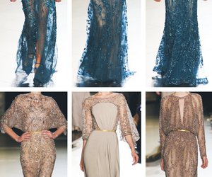 beige, blue, and dress image