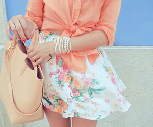 skirt, floral, and cute image