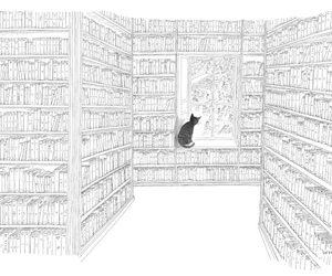 books, drawing, and library image