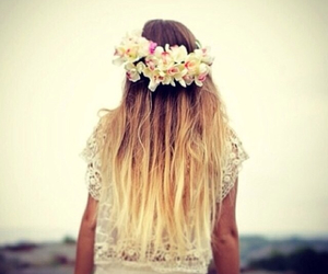 flowers, ambre, and hair image