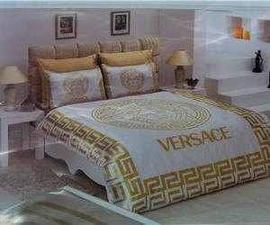 bed, cover, and Versace image