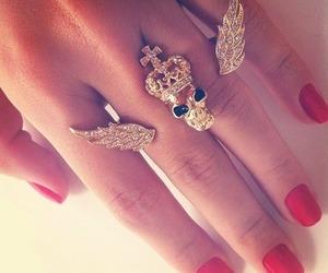 gold, rings, and nails image