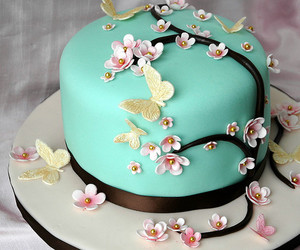 cake, blue, and butterfly image
