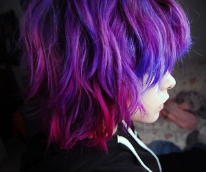 colored hair, dyed hair, and hair color image