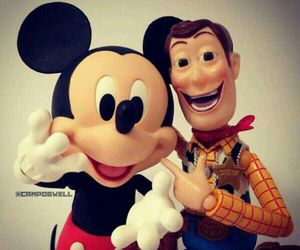 woody, disney, and mickey image