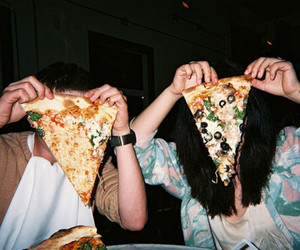boy, girl, and pizza image