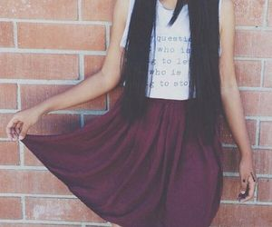 skirt, hair, and long image