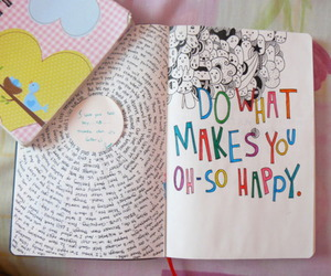 happy, book, and art image