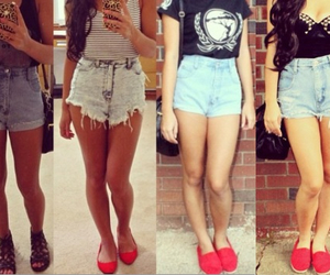 denim shorts, fashion, and outfit image