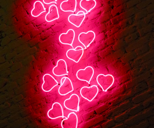 hearts, neon, and pink image