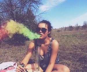 girl, smoke, and weed image