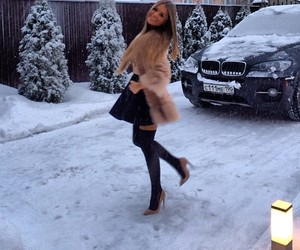 girl, car, and snow image