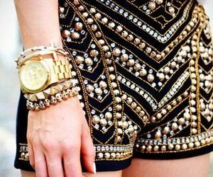 fashion, gold, and short image