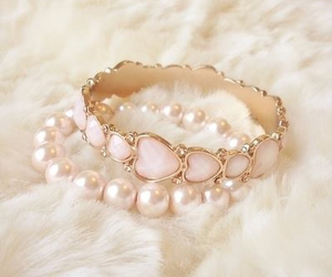 bracelet, pink, and pearls image