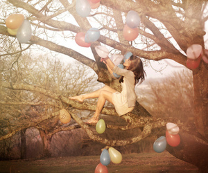 girl, balloons, and tree image