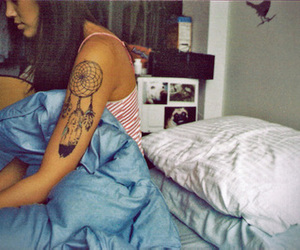 tattoo, girl, and bed image