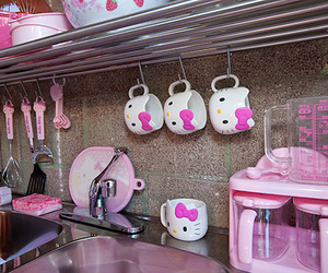 hello kitty, kitchen, and pink image