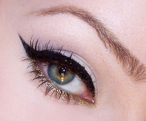 beauty, gold, and eye liner image