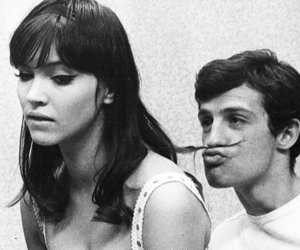black and white, couple, and anna karina image