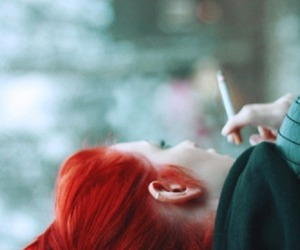girl, smoke, and red image