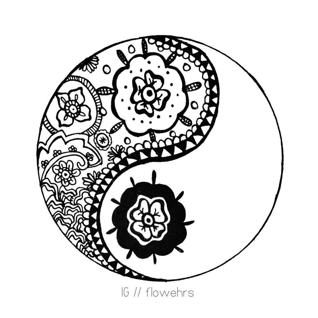 Floral Ying Yang Shared By Alba On We Heart It