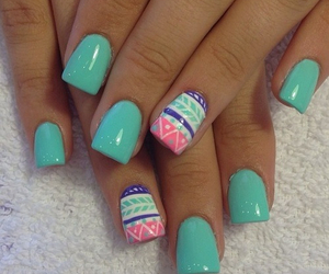 blue nails, pink, and teal image