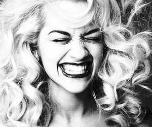 rita ora, smile, and black and white image