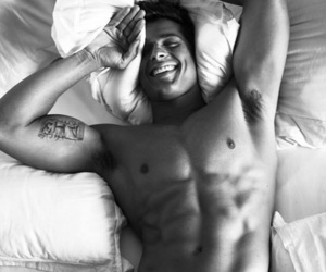 bed, blackandwhite, and boy image