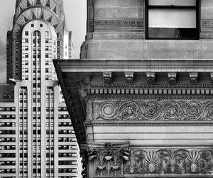 black and white and buildings image