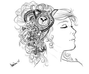 beauty, drawing, and clock image