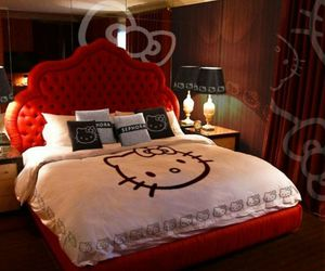 bed and hello kitty image