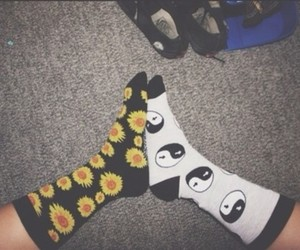 socks, flowers, and cool image